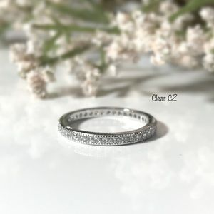 Clear CZ Stackable Sterling Silver Ring
